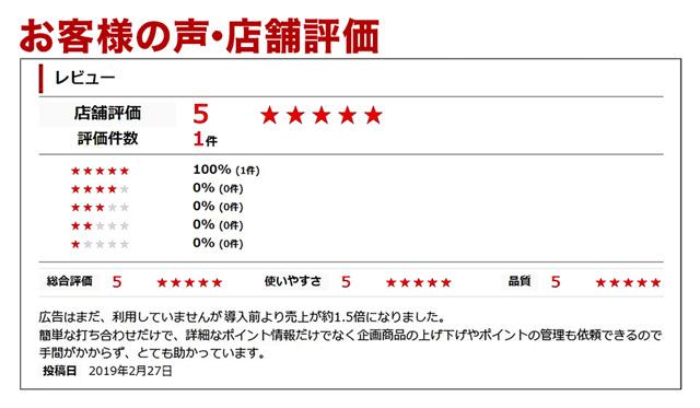 お客様の評価★5売上150%UP
